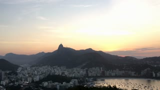 Overview of Rio during sunset wide angle 4k
