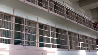 Pan of D-Block in Alcatraz