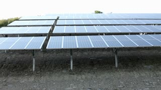 Pan of Solar Panels Outdoors