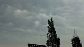 Pan of stormy and cloudy sky