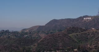 Pan to Hollywood sign in the hills 4k
