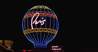 Paris Casino iconic Hot Air Balloon at night 4k
