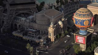 Paris Hotel and Casino in Las Vegas aerial view 4k