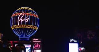 Paris Hotel and Casino on strip at night 4k