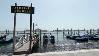 Parked Gondolas at ride port in Venice