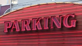 Parking neon lights sign flashing