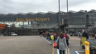 Passengers arriving to Cologne Bonn Airport 4k