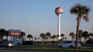 Pensacola Beach welcoming station with water tower in background 4k