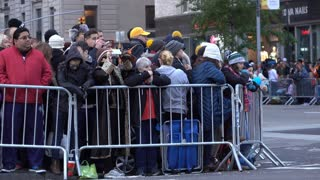 People along parade route in New York City 4k