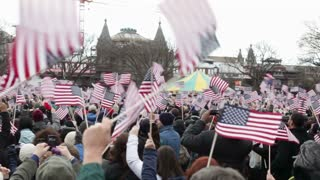 People cheering at Presidential Inauguration 2013