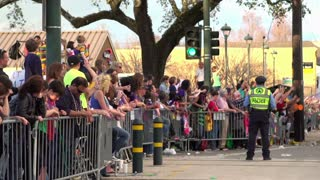 People cheering for beads in Endymion parade