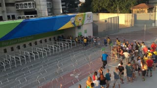 People in line to purchase Rio 2016 Olympic game tickets 4k