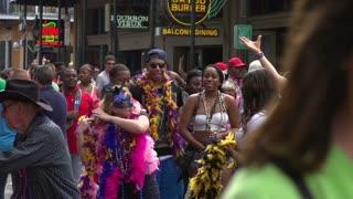 People on Burbon Street slow motion