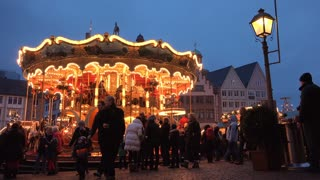 People on Carousel at Frankfurt Christmas Market 4k