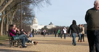 People on park bench in National Mall Washington DC 4k
