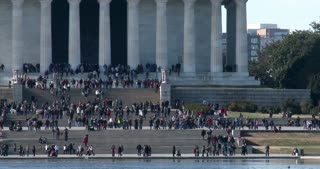 People on stairs of Lincoln Memorial 4k