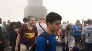 People visiting Christ the Redeemer statue of Rio de Janeiro 4k