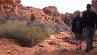 People visiting Mouses Tank in Valley of Fire State Park 4k