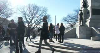 People visiting National Monuments in Washington DC 4k