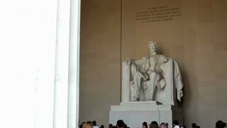People visiting the Lincoln Memorial