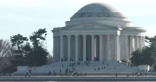 People visiting Thomas Jefferson Memorial 4k