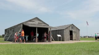 People visiting Wright Brothers home at Kitty Hawk