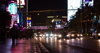 People walking down Las Vegas strip 4k