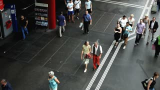 People walking in Luzern Switzerland Train station