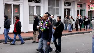 People Walking on Bourbon Street Mardi Gras