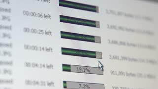 Percentage bars of downloads filling