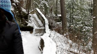Person walking up snow covered steps