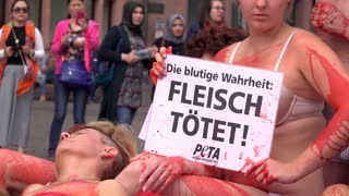 Peta organization holding demonstration in Frankfurt Germany 4k