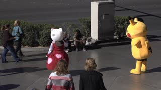 Pikachu and Hello Kitty characters in Las Vegas 4k