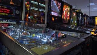 Pinball machines at arcade in a row 4k