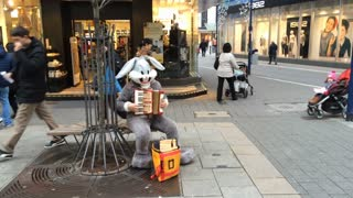 Playing accordion in downtown Offenbach wearing Bunny costume