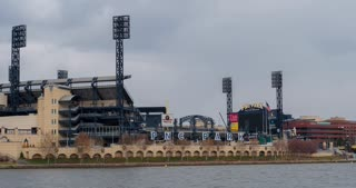 PNC Ballpark in downtown Pittsburgh river front stadium 4k