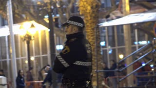 Police officer standing at his post for Fallas festival