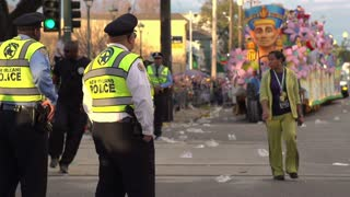 Police officers guarding streets during Endymion 2014