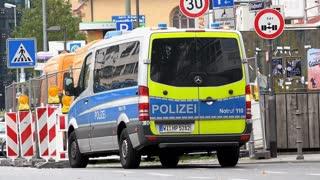 Police or Polizei vehicle sitting on street in downtown Frankfurt 4k