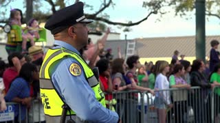 Police standing guard at Endymion Parade 2014