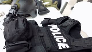 Police Vest sitting on Table