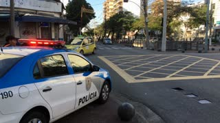 Policia in Rio de Janeiro town of Vila Isabel at intersection 4k