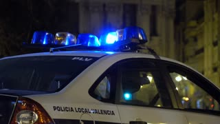 Policia Local Valencia vehicle with lights flashing 4k