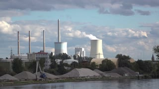 Power Plant with smoke coming from silo in Hanau Germany 4k