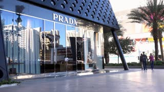 Prada store in Las Vegas establishing tilt shot 4k
