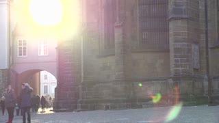 Prague architecture with bright sunshine