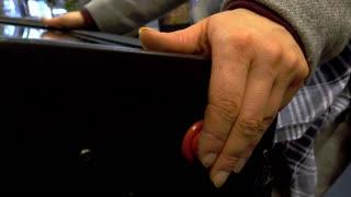 Pressing flipper button on pinball machine by female 4k