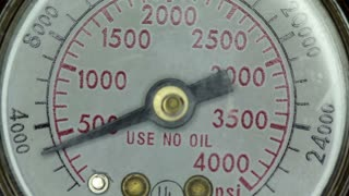 Pressure gauge needle raising and falling