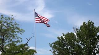 Proud American flag waving in the wind 4k