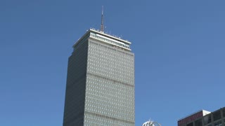 Prudential Tower in downtown Boston tilt to street